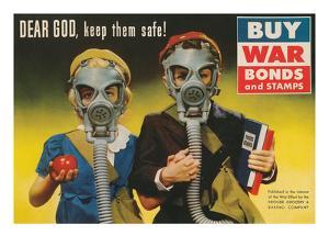 War Bonds Poster, Children in Gas Masks