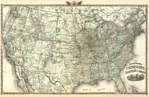 New Railroad Map of the United States and Dominion of Canada, c.1876 by Warner & Beers