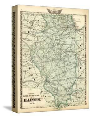 Official Railroad Map of the State of Illinois, c.1876 by Warner & Beers
