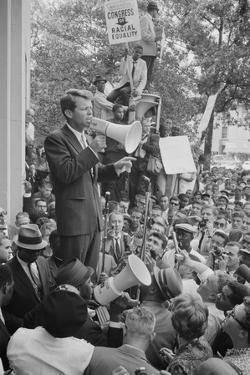 Attorney General Robert F Kennedy speaking to a crowd of Civil Rights protestors, 1963 by Warren K. Leffler