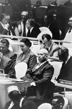 Nikita Khrushchev at a meeting of the United Nations General Assembly in New York, 1960 by Warren K. Leffler