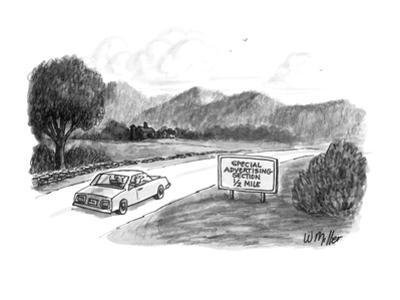A couple  in car pass by a roadsign that reads 'Special Advertising Sectio… - New Yorker Cartoon by Warren Miller