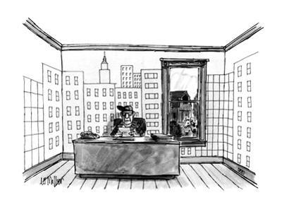 A farmer sitting in his office, wallpapered with a depiction of an urban s… - New Yorker Cartoon by Warren Miller