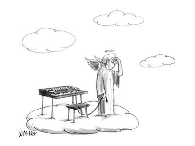 Angel on a cloud looking for outlet for synthesizer in heaven. - New Yorker Cartoon by Warren Miller