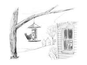 "Bird at feeder that has sign ""25 cents"" and grumpy looking man at the wind… - New Yorker Cartoon by Warren Miller"