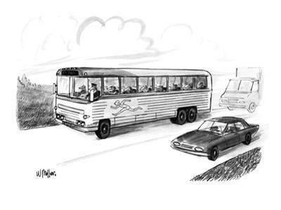 Bus filled with Greyhound dogs, with the logo of a running man. - New Yorker Cartoon by Warren Miller