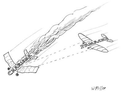 """Charisma"" plane in flames as ""Panache"" plane shoots it down. - New Yorker Cartoon by Warren Miller"