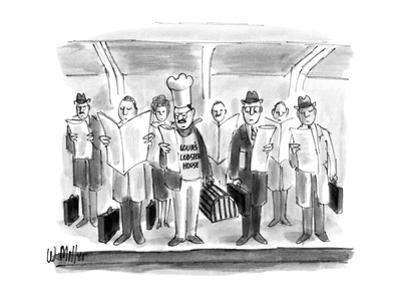 Chef with hat and lobster trap on subway stop with businessmen with briefc… - New Yorker Cartoon by Warren Miller