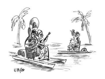 Couple on pedal boat, the man playing a tuba, the woman a banjo. - New Yorker Cartoon