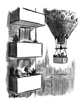 Couple out on high-rise balcony watching as a balloon carrying a balcony p… - New Yorker Cartoon by Warren Miller