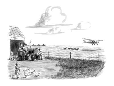 Farm with crop duster being chased by wolves. - New Yorker Cartoon by Warren Miller