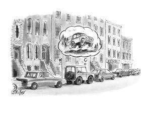 Jeep dreams of being in the country. - New Yorker Cartoon by Warren Miller