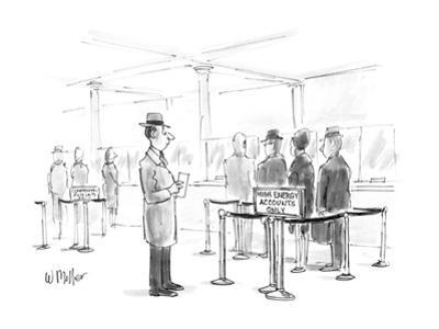 """Man in bank looking at sign """"High Energy Accounts Only"""". - New Yorker Cartoon by Warren Miller"""