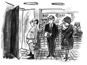 Man in haberdashery tries on white cotton briefs while salesperson and wif… - New Yorker Cartoon by Warren Miller