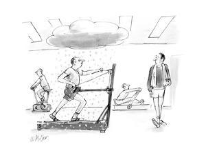 Man on sking exercise machine with snow falling on him. - New Yorker Cartoon by Warren Miller