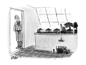 Miniature people are lowering a bonsai trunk into a miniature truck, while… - New Yorker Cartoon by Warren Miller