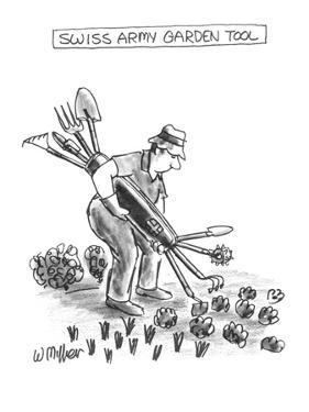 Swiss Army Garden Tool - New Yorker Cartoon by Warren Miller