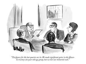 """The figures for the last quarter are in. We made significant gains in the…"" - New Yorker Cartoon by Warren Miller"