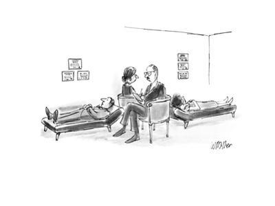 Two therapists each with patient on couch sit on opposite sides of love se… - New Yorker Cartoon by Warren Miller