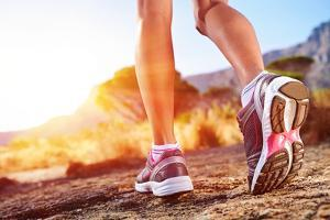 Athlete Running Sport Feet on Trail Healthy Lifestyle Fitness by warrengoldswain