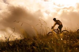 Happy Couple Riding Bicycles Outside, Healthy Lifestyle Fun Concept. Silhouette at Sunset Panoramic by warrengoldswain