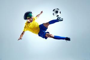Soccer Football Kick Striker Scoring Goal with Accurate Shot for Brazil Team World Cup by warrengoldswain
