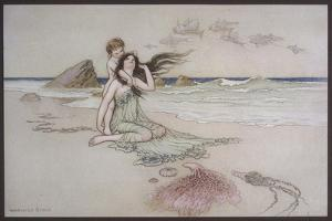 An Illustration to the Song of the River: Play by Me Bathe in Me Mother and Child by Warwick Goble