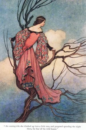 At Evening Tide She Climbed by Warwick Goble