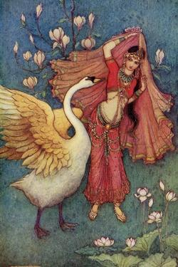 Damayanti and the Swan by Warwick Goble