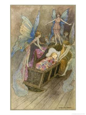 Fairies Around a Baby's Cot by Warwick Goble