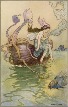 Fairy Riding a Nautilus by Warwick Goble