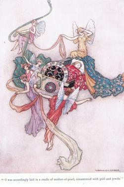 I Was Accordingly Laid in a Cradle of Mother of Pearl, Ornamented with Gold and with Jewels by Warwick Goble