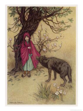 Little Red Riding Hood Meets the Wolf in the Woods by Warwick Goble