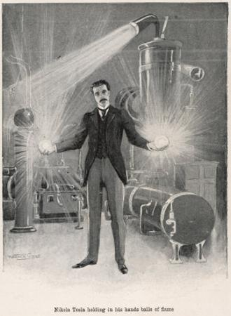 """Nikola Croatian Inventor Holding Balls of """"Flame"""" in His Bare Hands by Warwick Goble"""