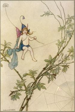 Puck Seated on a Spider's Thread by Warwick Goble