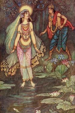Shantanu Meets the Goddess Ganga by Warwick Goble