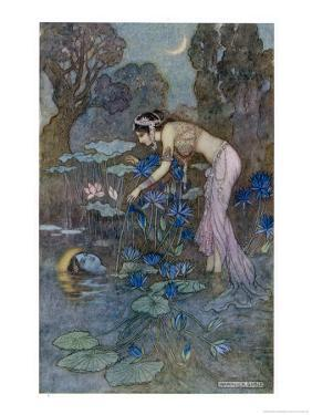 Sita Finds Rama (Seventh Avatar of Vishnu) Among the Lotus Blooms by Warwick Goble