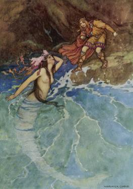 The Mermaid Falls in Love with the King by Warwick Goble