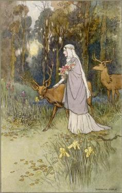 Woman Walking Through the Woods with a Timid Dun Deer by Warwick Goble