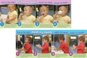 Wash My Hands/Brush My Teeth, 2 part laminated poster set