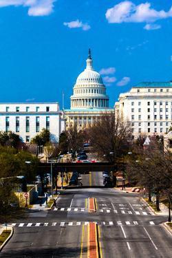 WASHINGTON D.C. - Elevated view down Capitol St, to US Capitol, Washington DC.