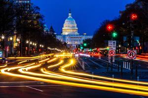 WASHINGTON D.C. - Pennsylvania Ave to US Capitol with streaked lights going towards US Capitol