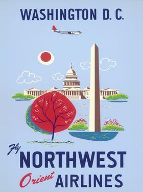 Washington, D.C. - United States Capitol - Washington Monument - Fly Northwest Orient Airlines