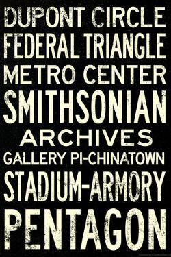 Washington DC Metro Stations Vintage RetroMetro Travel Plastic Sign