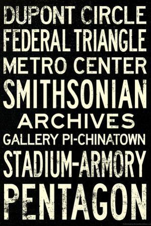 Washington DC Metro Stations Vintage Travel Poster