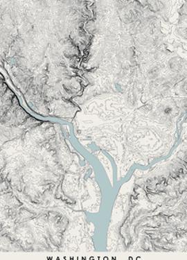 Washington DC Topographical Print