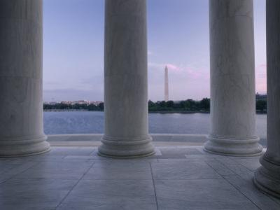 Washington Monument and Jefferson Memorial Columns Washington, D.C. USA