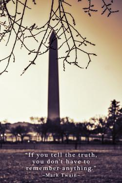 Washington Monument, Cross Processed Look in Washington, DC with Mark Twain Quote