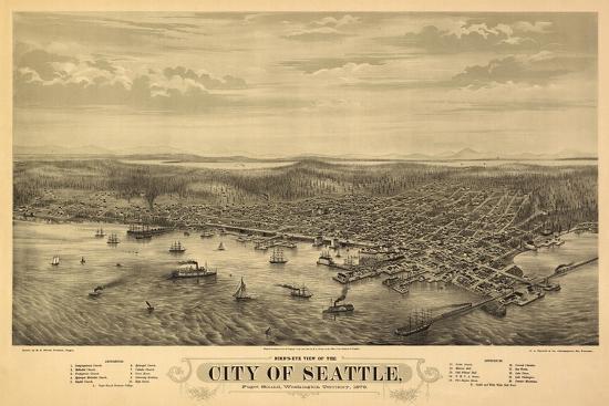 Washington - Panoramic Map of Seattle-Lantern Press-Stretched Canvas Print