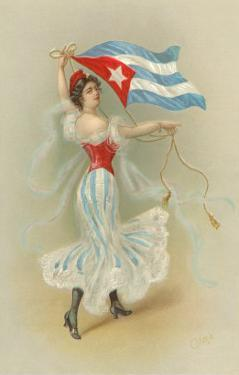 Wasp-Waisted Woman with Flag of Cuba